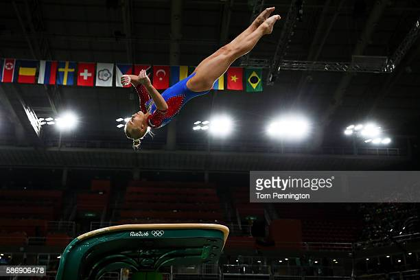 Angelina Melnikova of Russia competes on the vault during Women's qualification for Artistic Gymnastics on Day 2 of the Rio 2016 Olympic Games at the...