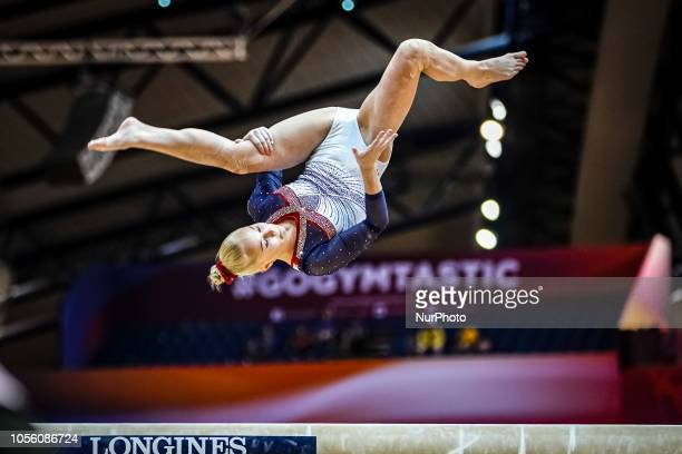 Angelina Melnikova of  Russia during Balancing Beam Individual Final for Women at the Aspire Dome in Doha Qatar Artistic FIG Gymnastics World...