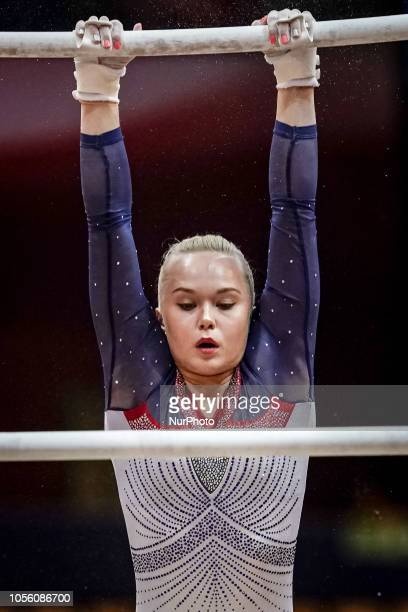 Angelina Melnikova of  Russia during Uneven Bars Individual Final for Women at the Aspire Dome in Doha Qatar Artistic FIG Gymnastics World...