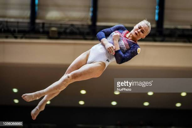 Angelina Melnikova of  Russia during Vault Individual Final for Women at the Aspire Dome in Doha Qatar Artistic FIG Gymnastics World Championships on...