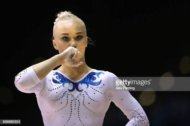 Angelina Melnikova of Russia looks on during day two of the 2018 Gymnastics World Cup at Arena Birmingham on March 22 2018 in Birmingham England