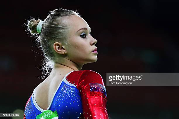 Angelina Melnikova of Russia looks on during Women's qualification for Artistic Gymnastics on Day 2 of the Rio 2016 Olympic Games at the Rio Olympic...