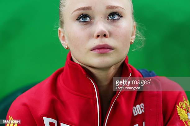 Angelina Melnikova of Russia shows her emotion after not qualifying for the all around during Women's qualification for Artistic Gymnastics on Day 2...