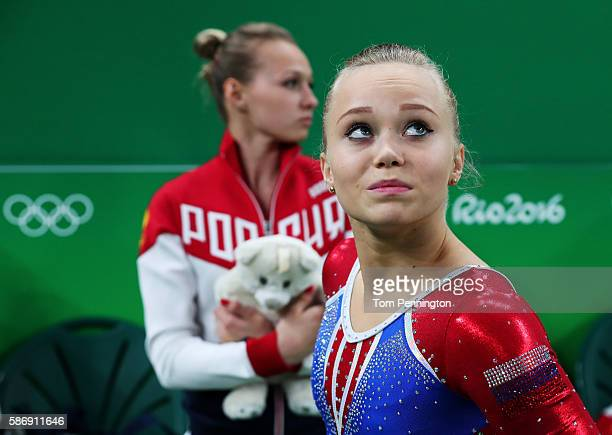 Angelina Melnikova of Russia shows her emotion during Women's qualification for Artistic Gymnastics on Day 2 of the Rio 2016 Olympic Games at the Rio...
