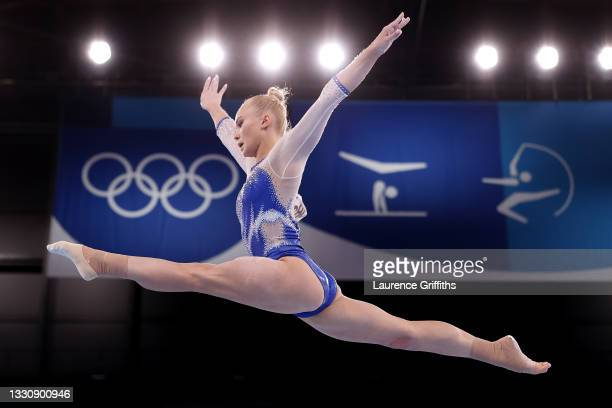 Angelina Melnikova of Team ROC competes in balance beam during the Women's Team Final on day four of the Tokyo 2020 Olympic Games at Ariake...