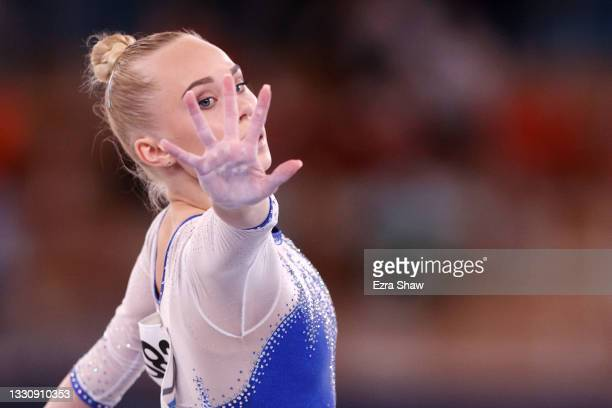Angelina Melnikova of Team ROC competes in floor exercise during the Women's Team Final on day four of the Tokyo 2020 Olympic Games at Ariake...