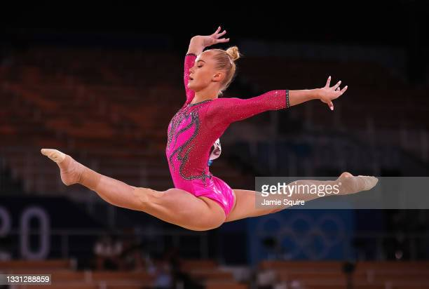Angelina Melnikova of Team ROC competes in the floor exercise during the Women's All-Around Final on day six of the Tokyo 2020 Olympic Games at...
