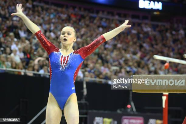 Angelina Melnikova on Beam during the IPRO Sport World Cup of Gymnastics at The O2 Arena London England on 08 April 2017