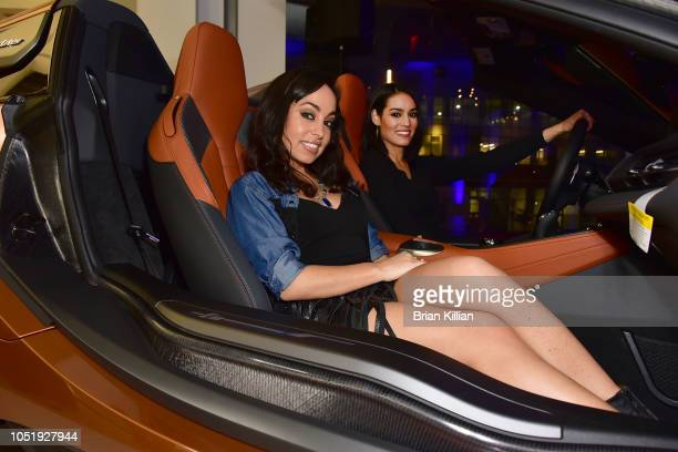 Angelina Pinto and Alyssa DeMartino attend the Manhattan Magazine Men's Event With John David Washington at BMW of Manhattan on October 11 2018 in...