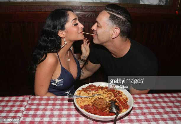 Angelina Pivarnick and fiancee Christopher Larangeira pose as Pivarnick promotes Jersey Shore Family Vacation as she visits Buca di Beppo Times...