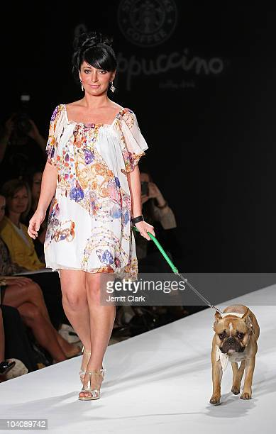 Angelina Pivarnick and French Bulldog Brody attend bobi/Boy Meets Girl/Caravan Spring 2011 at Style360 on September 14 2010 in New York City