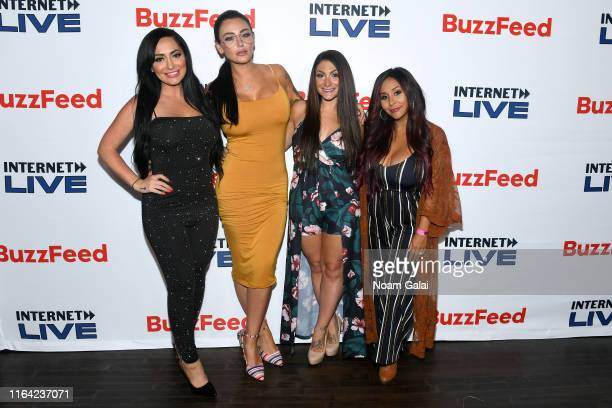 Angelina Pivarnick Jenni 'JWoww' Farley Deena Cortese and Nicole 'Snooki' Polizzi attend Internet Live By BuzzFeed at Webster Hall on July 25 2019 in...