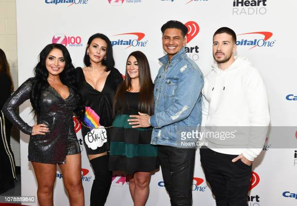 Angelina PivarnickJenni JWoww Farley Deena Cortese Paul DelVecchio and Vinny Guadagnino attend Z100's Jingle Ball 2018 at Madison Square Garden on...