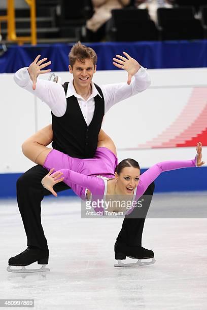 Angelina Telegina and Otar Japaridze of Georgia compete in the Ice Dance Short Dance during ISU World Figure Skating Championships at Saitama Super...