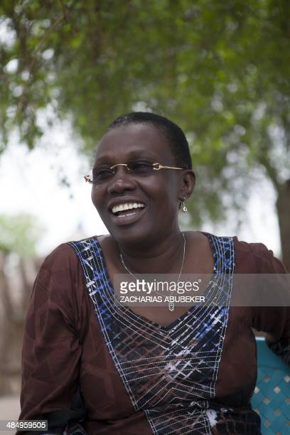 Angelina Teny wife of South Sudanese rebel leader and former vice president Riek Machar laughs during an interview at an army barracks in the Upper...