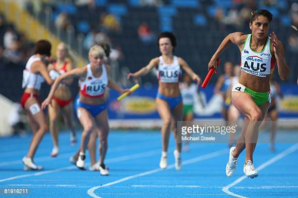 Angeline Blackburn of Australia on the anchor leg of the women's 4x400m relay semifinal during day five of the 12th IAAF World Junior Championships...
