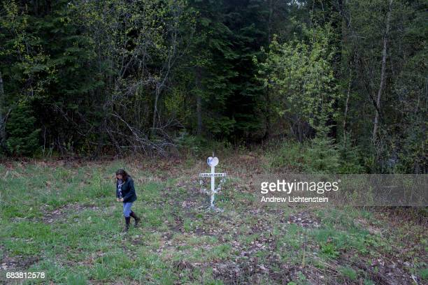 Angeline Chalifaux the aunt of Aielah Auger Saric visits a small memorial marker on the side of highway 16 that marks the spot just east of Prince...