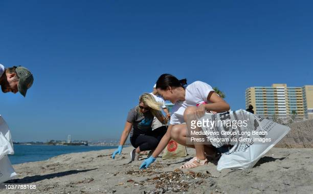 Angeline Lee joins volunteers picking up trash on Coastal Cleanup Day with fellow employees from SGA Associates an environmental marketing firm on...