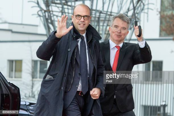 Angelino Alfano arrives at the World Conference Center on February 16 2017 in Bonn Germany The meeting is the first occasion that highlevel diplomats...