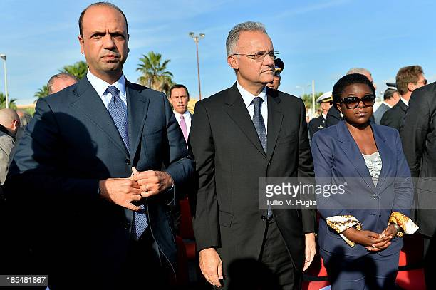 Angelino Alfano Italian Internal Minister Mario Mauro Italian Defence Minister and Cecile Kyenge Italian Minister for Immigration attend the...