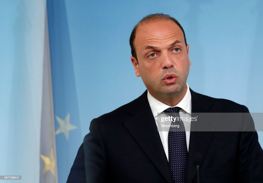 Angelino Alfano, Italy's interior minister, speaks during a news conference at the Chigi Palace in Rome, Italy, on Sunday, April 28, 2013. Two Italian police officers were shot outside the prime minister's office in Rome today by a lone gunman while the country's new premier, Enrico Letta, was being sworn in across town, police said. Photographer: Alessia Pierdomenico/Bloomberg via Getty Images