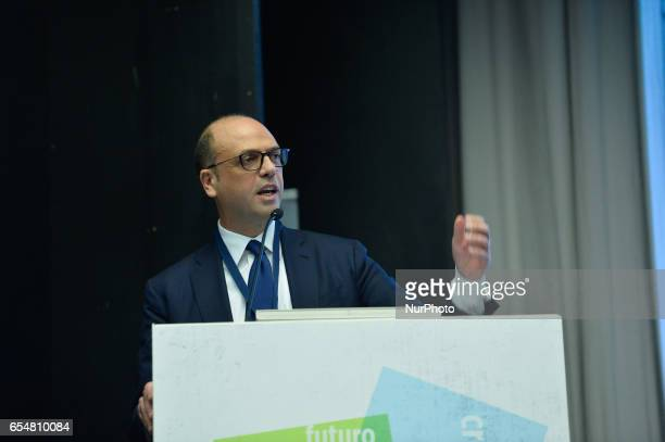 Angelino Alfano speaks during National Assembly of NCD In which is assumed the new name of Popular Alternative Rome on march 18 2017