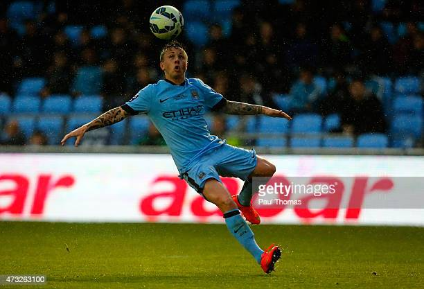 Angelino of Manchester City in action during the Premier League International Cup Final match between Manchester City and FC Porto at the Manchester...