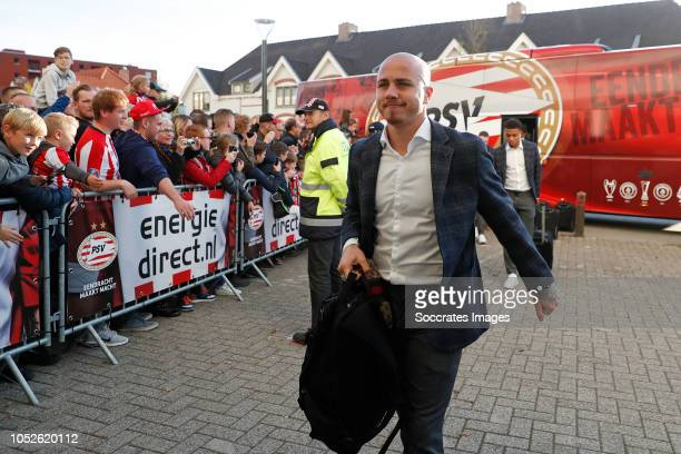 Angelino of PSV arrives with the players bus during the Dutch Eredivisie match between PSV v FC Emmen at the Philips Stadium on October 20 2018 in...