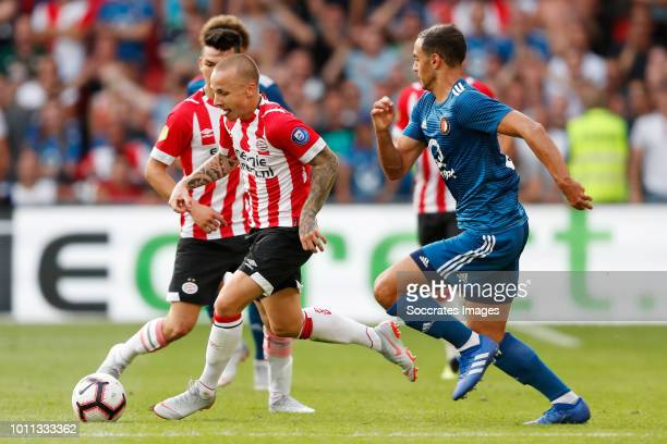 Angelino of PSV Sofyan Amrabat of Feyenoord during the Dutch Johan Cruijff Schaal match between PSV v Feyenoord at the Philips Stadium on August 4...