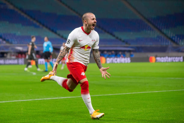Angelino of RB Leipzig celebrates after scoring his team's first goal during the UEFA Champions League Group H stage match between RB Leipzig and...