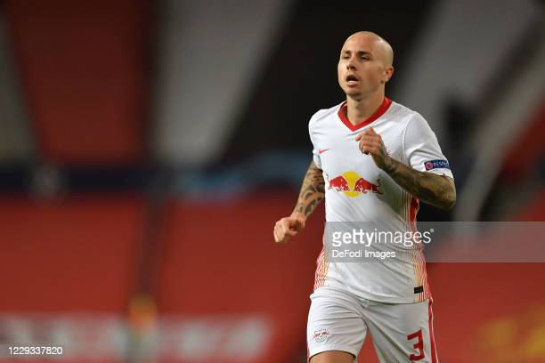 Angelino of RB Leipzig looks on during the UEFA Champions League Group H stage match between Manchester United and RB Leipzig at Old Trafford on...