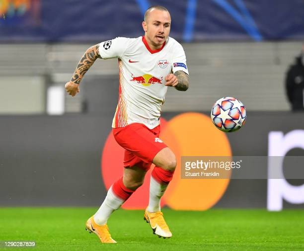 Angeliño of Leipzig in action during the UEFA Champions League Group H stage match between RB Leipzig and Manchester United at Red Bull Arena on...