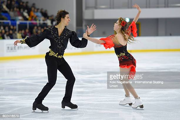 Angelique Abachkina and Louis Thauron of France compete in the junior ice dance free dance free program during the ISU Junior Grand Prix of Figure...