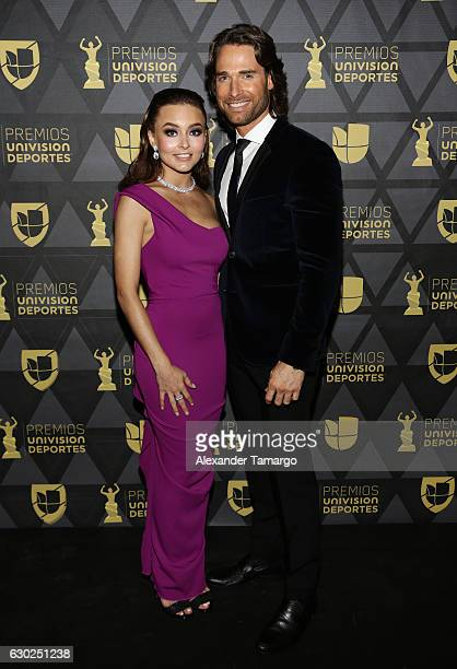 Angelique Boyer and Sebastian Rulli are seen arriving at Premios Univision Deportes 2016 on December 18 2016 in Miami Florida
