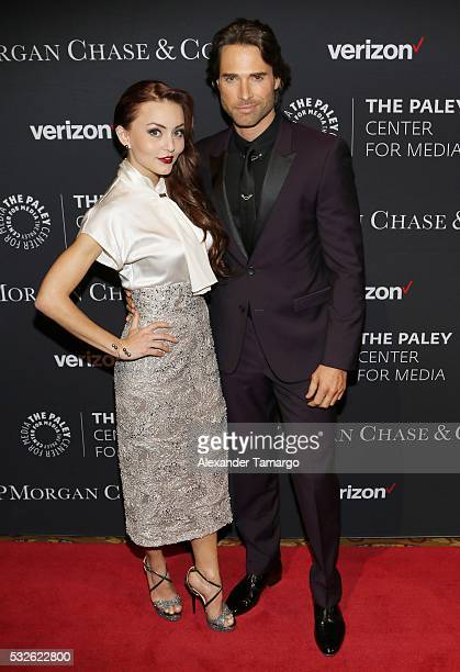 Angelique Boyer and Sebastian Rulli attend a Tribute to Hispanic Achievements In Television at The Paley Center for Media on May 18 2016 in New York...