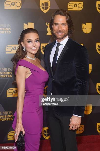 Angelique Boyer and Sebastian Rulli attend the Premios Univision Deportes 2016 at Univision Studios on December 18 2016 in Miami Florida