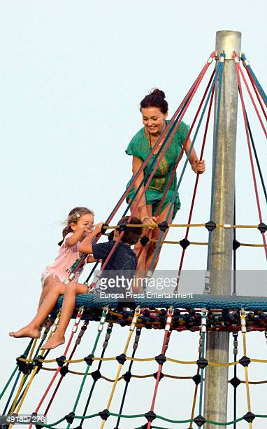 Angelique Boyer and Sebastian Rully's son Santiago Rulli are seen on September 10 2015 in Marbella Spain