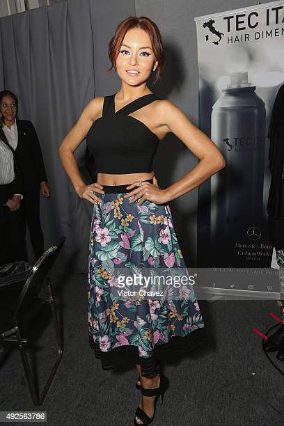 Angelique Boyer attends the first day of MercedesBenz Fashion Week Mexico Spring/Summer 2016 at Campo Marte on October 13 2015 in Mexico City Mexico
