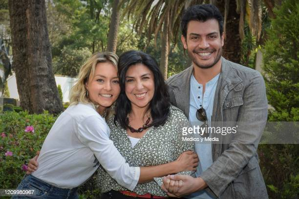 Angelique Boyer, Giselle Gonzalez, and Andres Palacios pose for photo during the first day of filming of the soap opera 'Imperio de Mentiras' on...