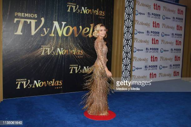 Angelique Boyer pose on the red carpet during the 'TV y Novelas' Awards 2019 at Campo Marte on March 10, 2019 in Mexico City, Mexico.