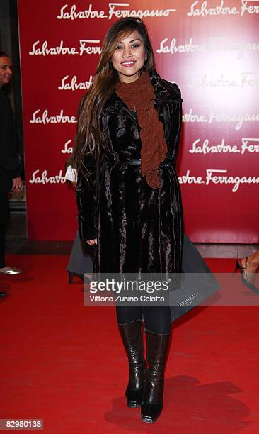 Angelique Brando attends 'Salvatore Ferragamo Evolving Legend' exhibition opening during Milan Fashion Week Spring/Summer 2009 on September 23 2008...