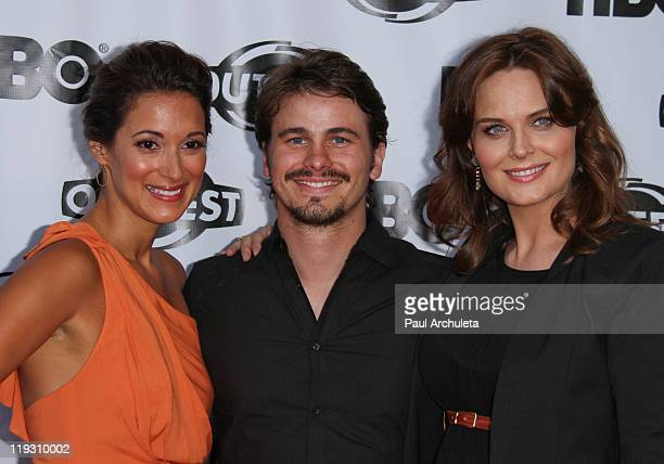 Angelique Cabral Jason Ritter and Emily Deschanel arrive at the 29th annual Gay Lesbian Film Festival closing night gala at the John Anson Ford...