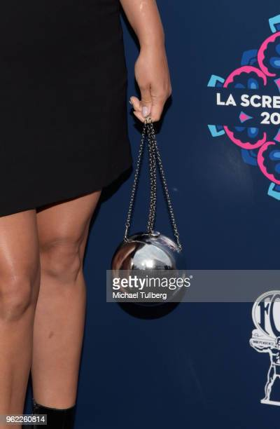 Angelique Cabral purse detail attends the 20th Century Fox 2018 LA Screenings Gala at Fox Studio Lot on May 24 2018 in Century City California