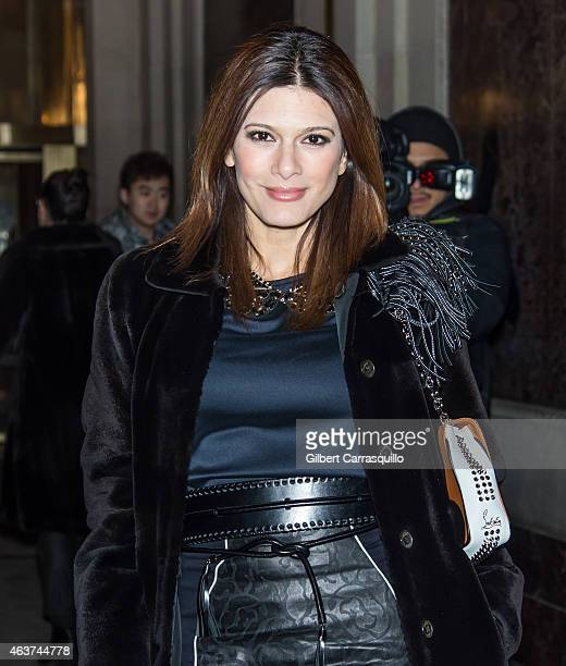 Angelique DeLuca is seen arriving at Oscar de la Renta fashion show during MercedesBenz Fashion Week Fall 2015 on February 17 2015 in New York City