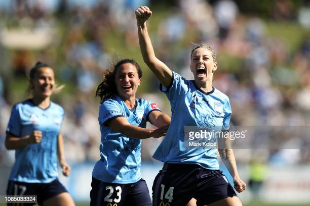 Angelique Hristodoulou and Danielle Colaprico of Sydney FC celebrate with Alanna Kennedy of Sydney FC as she celebrates scoring a goal during the...