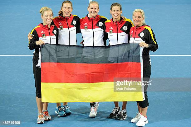 Angelique Kerber Andrea Petkovic AnnaLena Groenefeld Julia Goerges and Barbara Rittner of Germany pose for a photograph after the Fed Cup Semi Final...