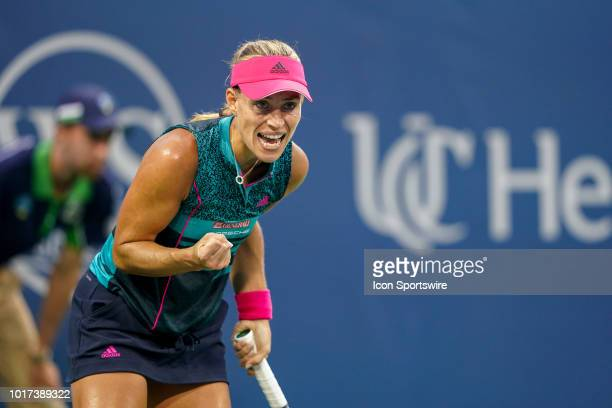 Angelique Kerber celebrates after scoring a point during the Western Southern Open at the Lindner Family Tennis Center in Mason Ohio on August 15 2018