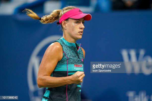 Angelique Kerber celebrates after winning a point during the Western Southern Open at the Lindner Family Tennis Center in Mason Ohio on August 15 2018