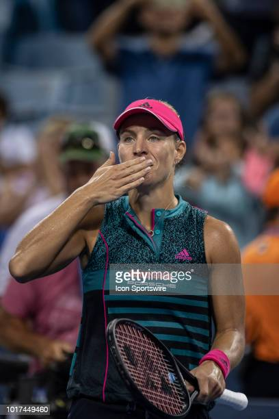 Angelique Kerber celebrates after winning her match against Anastasia Pavlyuchenkova during Day 4 of the Western and Southern Open at the Lindner...