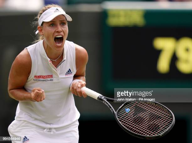 Angelique Kerber celebrates her win against Belinda Bencic on day seven of the Wimbledon Championships at the All England Lawn Tennis and Croquet...